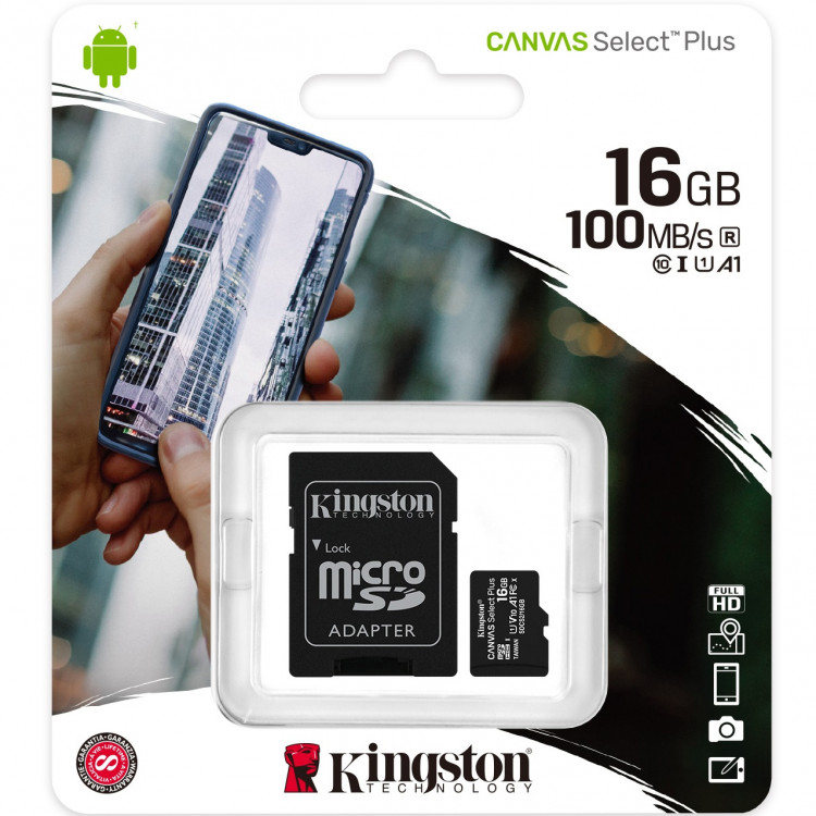 Карта памяти Kingston 16GB microSDHC Class 10